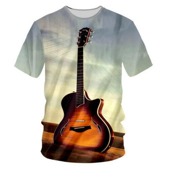 Women Men Casual 3D Print T-Shirt Short Sleeve Tops Tee Popular Music Guitar