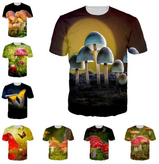 Women Men T-Shirt 3D Print Short Sleeve Tee Tops Casual Homme Anime Mushroom