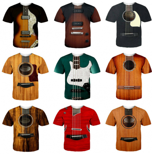 Women Men T-Shirt 3D Print Short Sleeve Tee Tops Guitar Art Musical Instrument