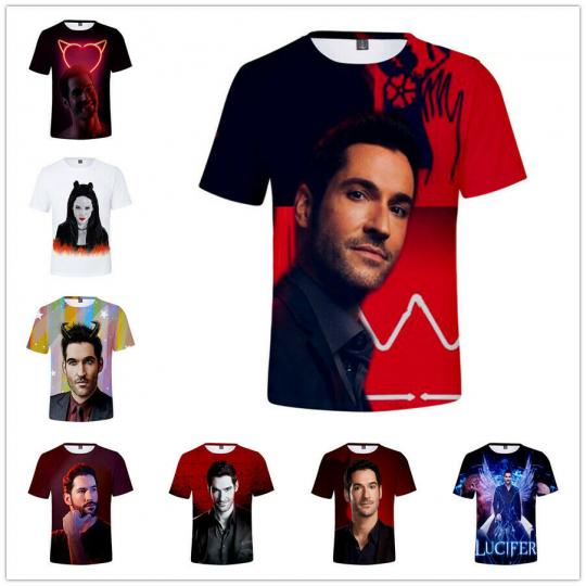 Women Men T-Shirt 3D Print Short Sleeve Tee Tops Lucifer Morningstar Casual