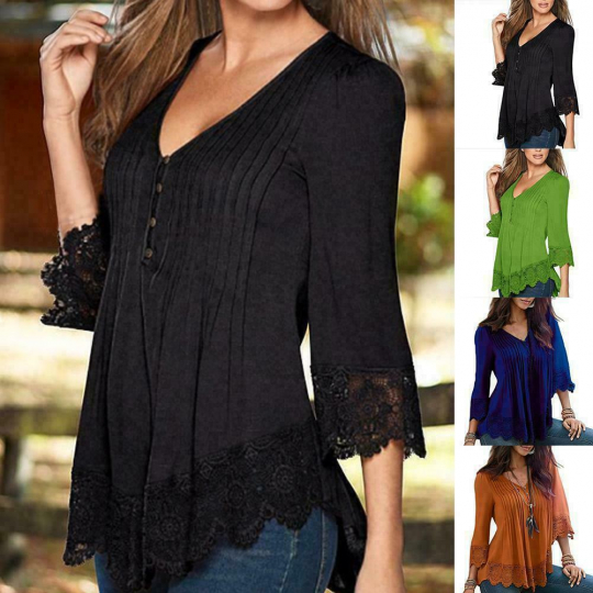 Women Plus S-4XL Women Lace Crochet Floral Bell Sleeve Loose Blouse Tops Shirt