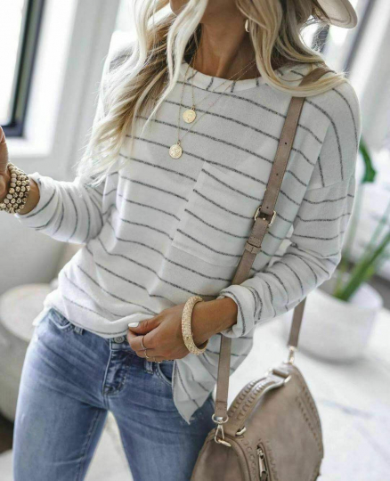 Women Striped Chest Pocket Long Sleeve Crew-neck Blouses Top Casual T-shirt