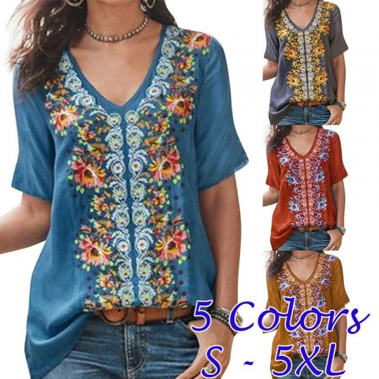 Women Summer Casual Short Sleeve T Shirt V-Neck Tops Floral Boho Blouse Top