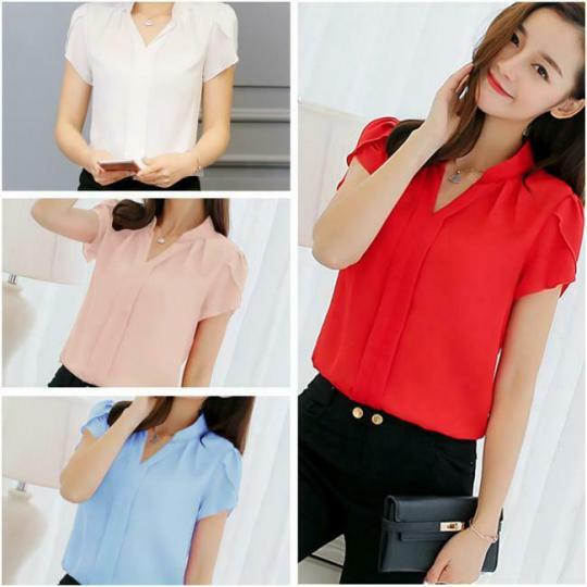 Women Summer Short Sleeve Blouses T-Shirt V-Neck Loose T-Shirt SL