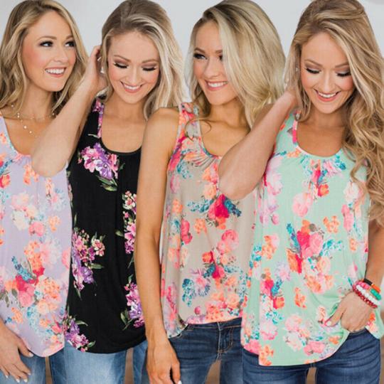 Women Summer Vest Top Sleeveless Tee Shirt Blouse Casual Loose Tank Tops T-Shirt
