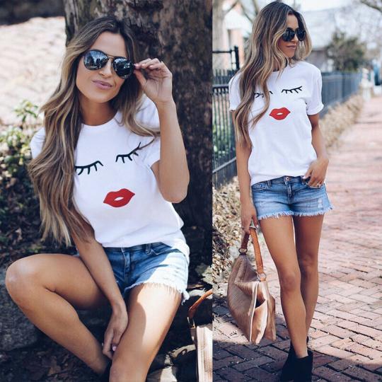 Women T Shirts Shirt Short Sleeve Loose Fashion Ladies Summer Casual Blouse Tops