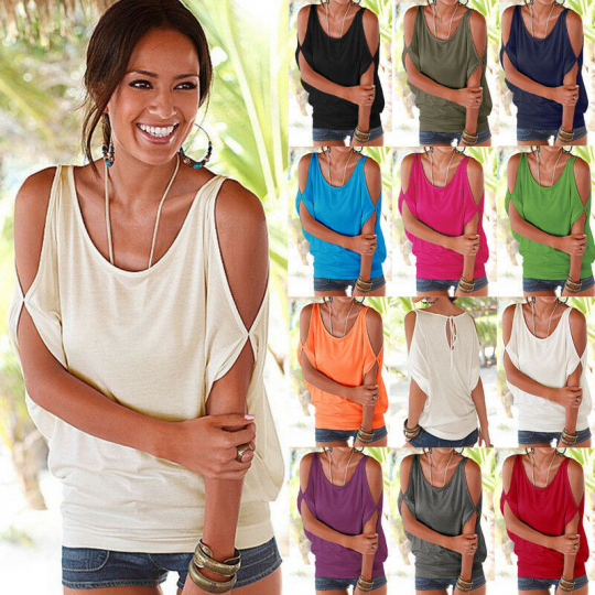Women Tank Vest Short Sleeve T-Shirt Shirt Sun-Top Blouse Tops Sandbeach Holiday