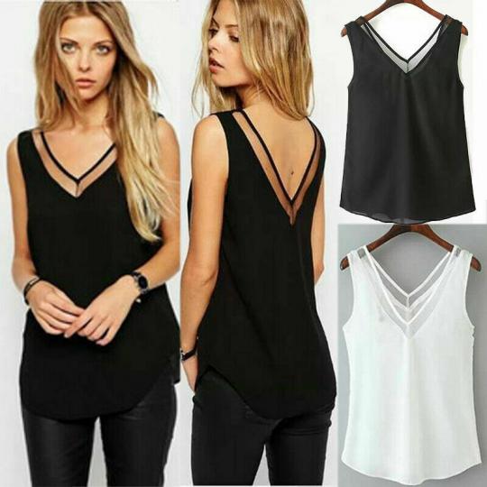 Women Tops Simple V Neck Plus Size Camisole Blouse Vest Ladies Tanks Summer