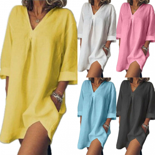 Women V-neck Loose Solid 3/4 Sleeve Long Shirt Blouse Tunic Tops Mini Dress
