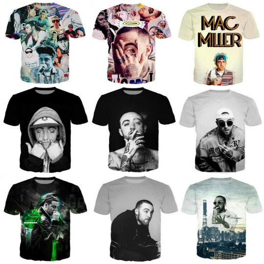 Women/Men's hip hop singer mac miller 3D Print Short Sleeve Casual Graphic Tee