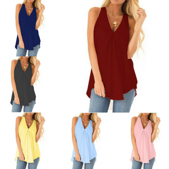 Womens Chiffon Tank Tops Sleeveless Pullover T Shirt Summer Casual Loose Blouse