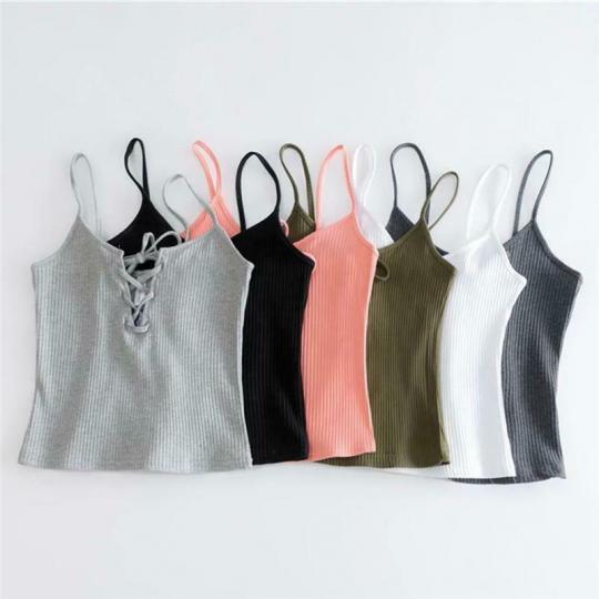 Women's Lace Up T-Shirt Sleeveless Tank Top Women's Summer SL