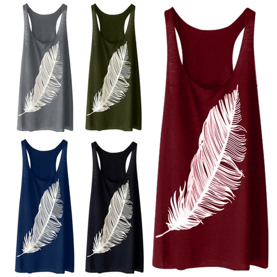 Women's Ladies Summer Feather Print Long Vest Fashion Casual Sleeveless Tank Top