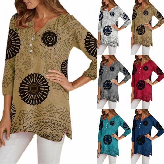 Women's Original Printed Fashion Wild Loose Casual T Shirt Blouse Long Tops