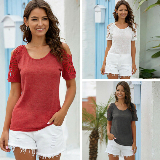 Womens Short Sleeve Summer Tops Round Neck Hook Flower Hollow Solid Color Blouse