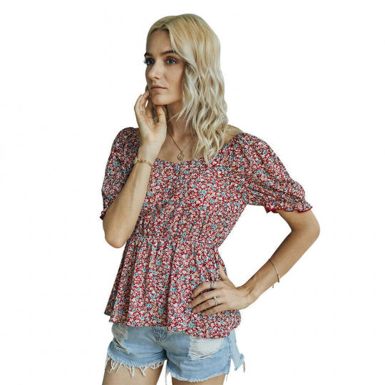Womens Summer Floral Printed Top Short Sleeve Tunic Blouse Square Neck Shirt