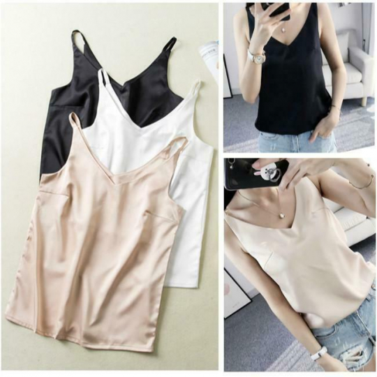 Women's Summer T-shirt V-neck Camisole Sleeveless Loose Casual Top SL