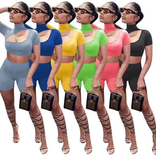 Womens Turtleneck Short Sleeve Hollow Cropped Top Slim Casual Shorts 2pcs Set