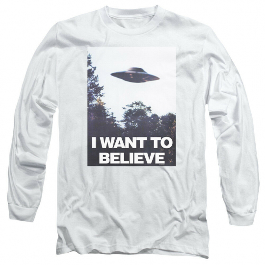 X-Files TV Show I WANT TO BELIEVE POSTER Adult Long Sleeve T-Shirt S-3XL