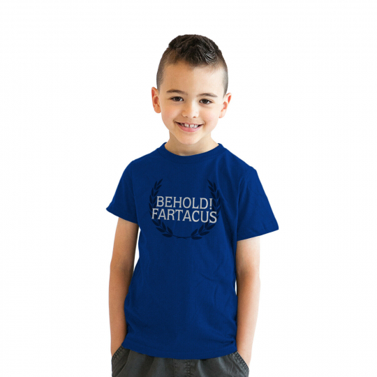 Youth Behold Fartacus Hilarious Farting Award Bathroom Humor T shirt for Kids