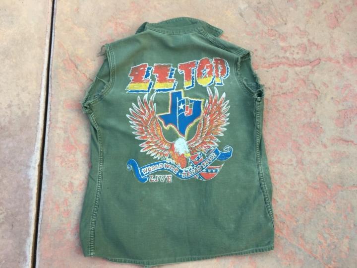 ZZ Top World Wide Texas Tour Live Vtg Army Shirt Vest Sz M Band Guitar Concert