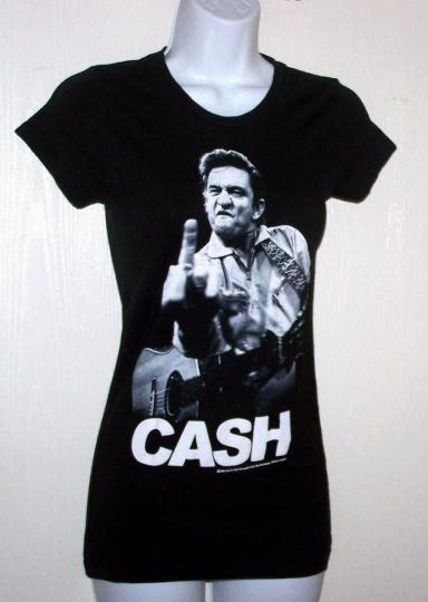 Zion rootswear Women's Tee T-shirt top size S juniors Johny Cash Black