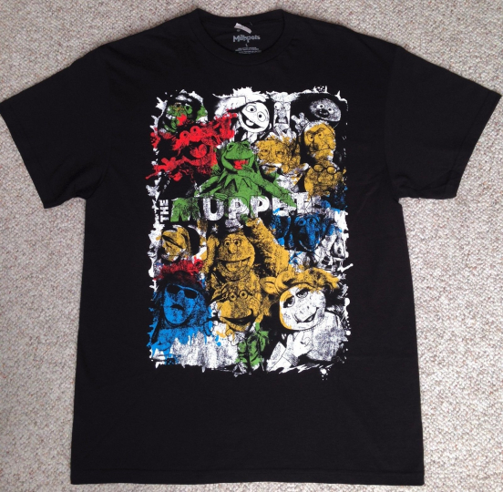 new THE MUPPETS CAST T-SHIRT All-Characters Kermit the Frog Miss Piggy Artistic