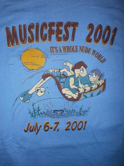 vtg NUDESTOCK MUSICFEST CONCERT T SHIRT Turtle Lake Nudist Resort Steppenwolf